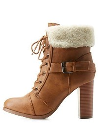 Mark Maddux Belted Sherpa Collared Lace Up Booties