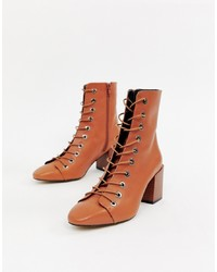 ASOS DESIGN Rowena Leather Lace Up Boots Leather