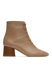 Mansur Gavriel Taupe Leather Lace Up Boots