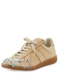 Maison Margiela Paint Splatter Leather Sneaker Beige