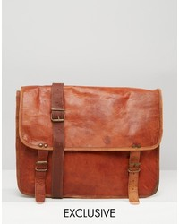 Reclaimed Vintage Leather Messenger Bag In Tan