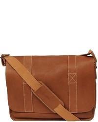 Black Rivet Vacqueta Leather Flap Over Messenger Bag Tan