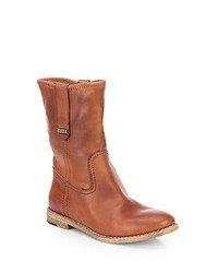 Burberry Dunbar Leather Motorcycle Boots Tan