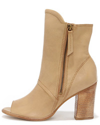 Matisse Leon Natural Leather Mid Calf Peep Toe Booties