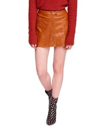 Free People High A Line Faux Leather Miniskirt