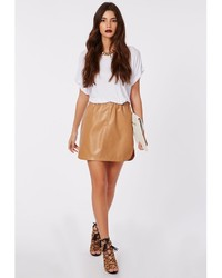 Missguided Abi Curve Hem Faux Leather Mini Skirt Camel | Where to ...