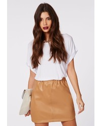 Missguided Abi Curve Hem Faux Leather Mini Skirt Camel