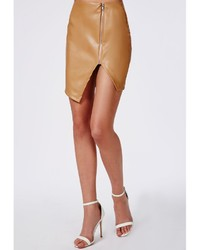 Missguided Alanis Faux Leather Asymmetric Zip Detail Skirt Camel