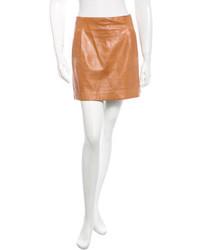 Vince Pleated Leather Mini Skirt