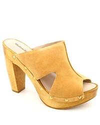 Madison Harding Gloria Tan Peep Toe Suede Mules Shoes