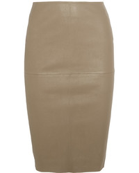 By Malene Birger Floridia Leather Skirt Beige