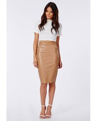 Missguided Mariota Faux Leather Pencil Skirt Camel | Where to buy ...