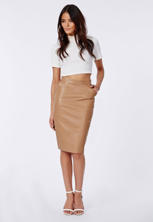 Missguided Mariota Faux Leather Pencil Skirt Camel