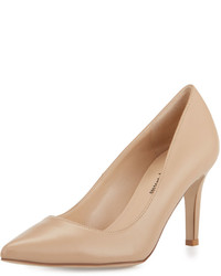 Neiman Marcus Cissy Leather Pointed Toe Pump Nude