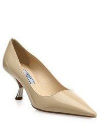 Prada Curve Heel Patent Leather Pumps