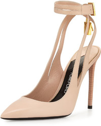 Tom Ford Leather Ankle Lock 105mm Pump Nude