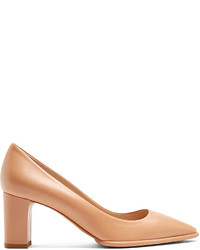 Tod's Point Toe Block Heel Leather Pumps
