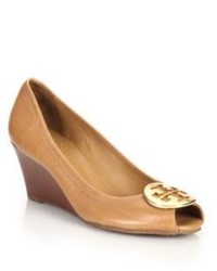 Tory Burch Sally 2 Tumbled Leather Wedge Pumps