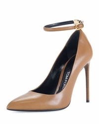 Tom Ford T Bar Leather 105mm Pump Brown