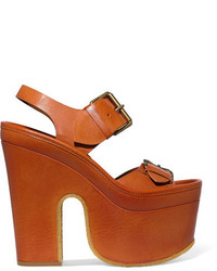 Stella McCartney Faux Leather Platform Sandals Camel