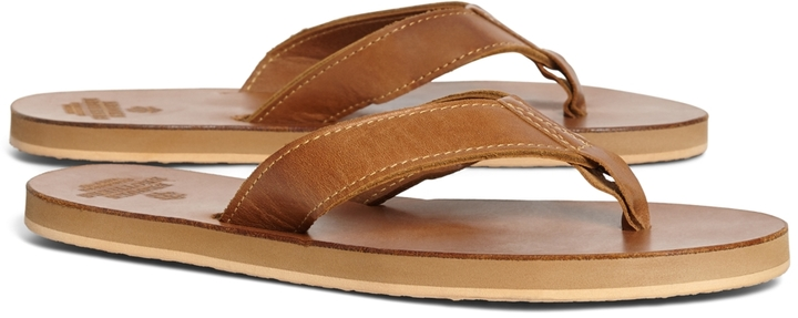 ... Tan Leather Sandals Brooks Brothers Leather Flip Flops ... 07ab8045d787