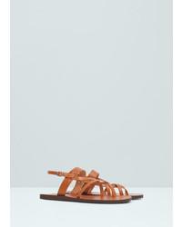 Mango Man Leather Gladiator Sandals