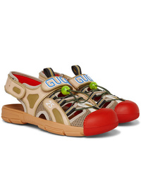 Gucci Tinsel Logo Detailed Rubber Leather And Mesh Sandals