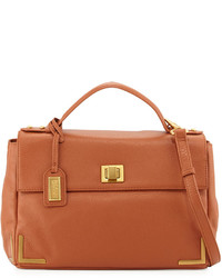Badgley Mischka Linda Pebbled Leather Satchel Bag Cognac