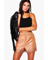 Fabienne leather look lace trim shorts medium 3664727