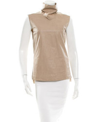 Leather mock neck top medium 469332