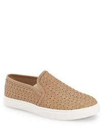 Tan Leather Slip-on Sneakers
