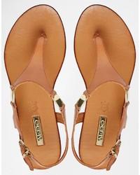 70abe225420 ... Aldo Bellia Tan Leather Thong Flat Sandals ...