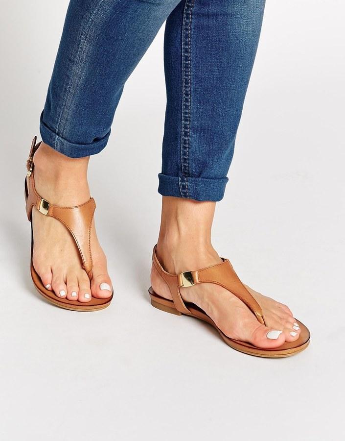 dac9264a2 ... Aldo Bellia Tan Leather Thong Flat Sandals ...