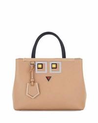 Fendi 2jours Petite Faces Leather Tote Bag Tan
