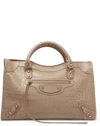 Balenciaga Classic City Croc Effect Leather Tote Beige