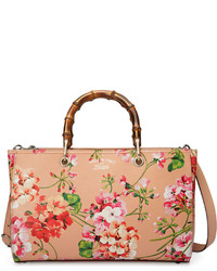 Gucci Bamboo Shopper Blooms Leather Tote Bag Nude