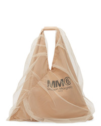 MM6 MAISON MARGIELA Beige Tulle Covered Triangle Tote
