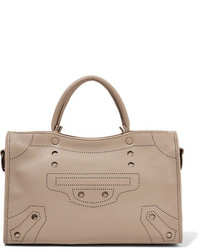 Balenciaga Blackout City Small Perforated Leather Tote Sand