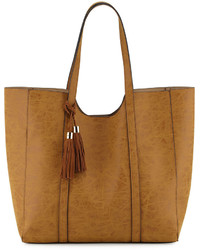 Neiman Marcus Braided Tassel Faux Leather Tote Bag Camel
