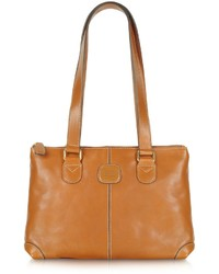 Bric's Life Leather Zippered Tote Bag