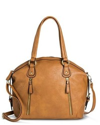Bueno Tote Handbag With Vertical Zipper Pockets Cognac