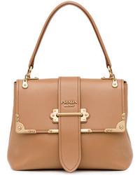 Prada Cahier Medium Half Flap Shoulder Bag Medium Camel