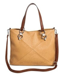 Cesca Faux Leather Two Tone Tote Handbag With Partial Chain Handles And Detachable Shoulder Strap Tan