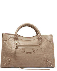 Balenciaga Classic City Croc Effect Leather Tote Beige