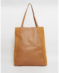 Asos Collection Leather And Suede Shopper With Whipstitch Detail