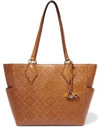 Diane von Furstenberg Voyage Bff Basketweave Leather Tote Tan