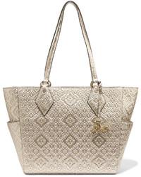 Diane von Furstenberg Voyage Bff Metallic Basketweave Leather Tote Gold