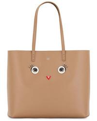 Fendi Faces Leather Tote Bag Tan