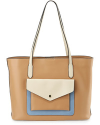 Neiman Marcus Hayden Colorblock Leather Tote Bag British Tanbonefrench Blue
