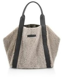 Brunello Cucinelli Large Reversible Shearling Metallic Leather Tote